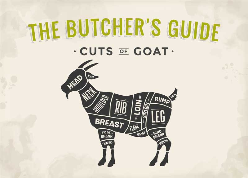 Butcher diagram of goat meat cuts