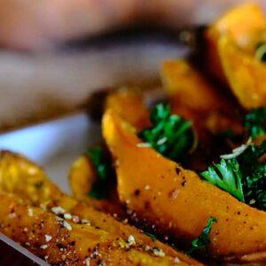 Mushroom Risotto stuffed Roasted Sweet Potato recipe from Spice of Life Farm